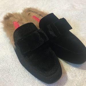 Catherine Malandrino velvet&faux fur shoes, sz 8.5